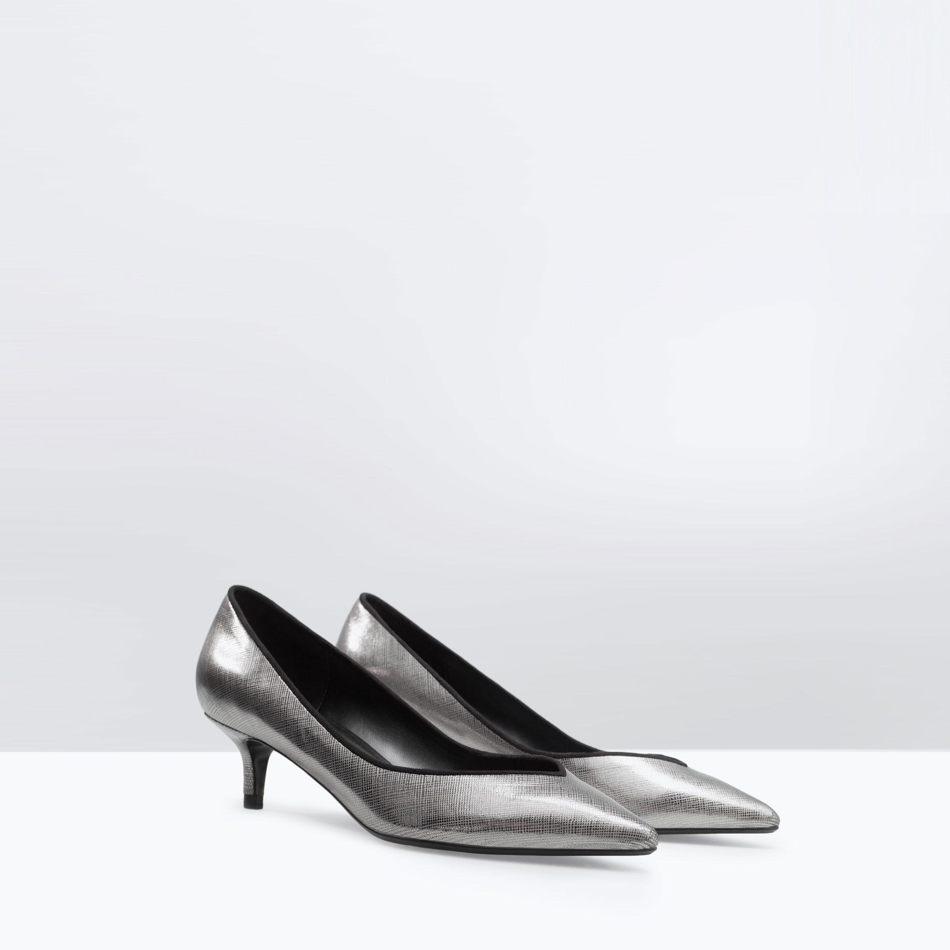 Zara Metallic Kitten Heel Pumps in Metallic | Lyst
