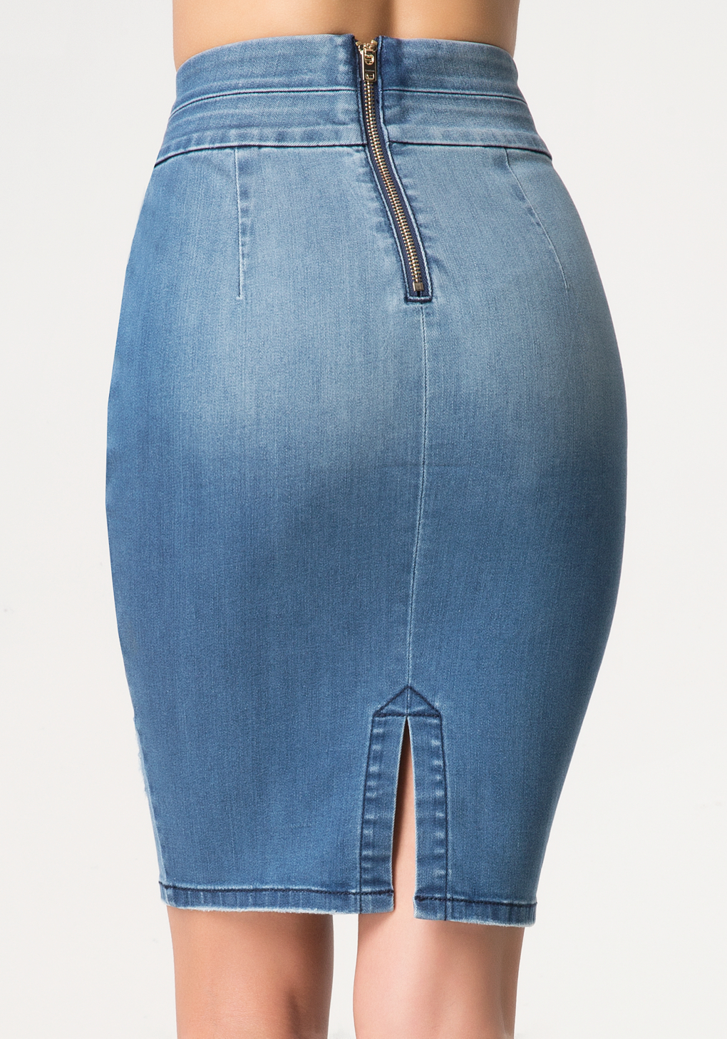 Bebe Denim Pencil Skirt in Blue | Lyst