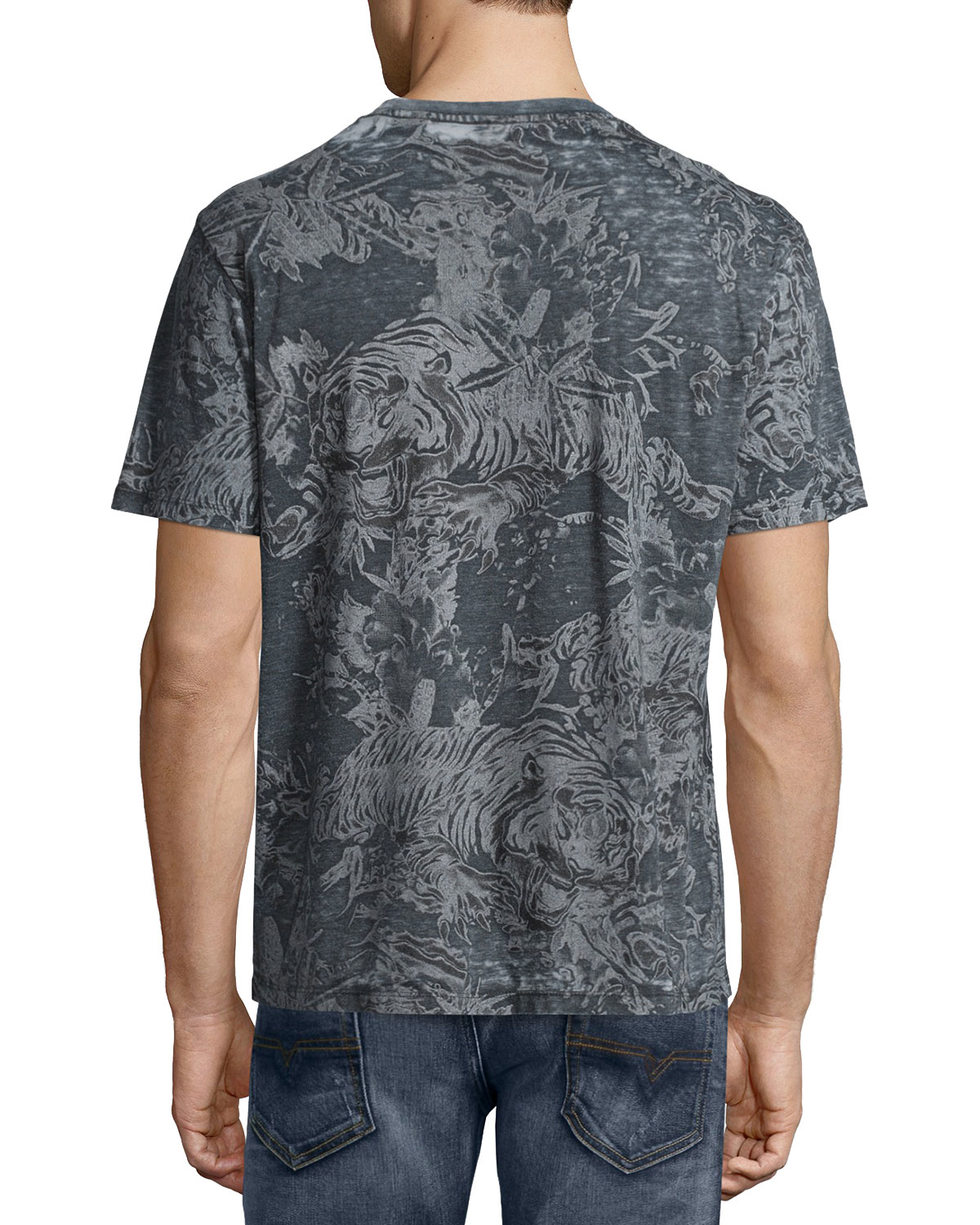 Diesel faded leaf print short sleeve t shirt in black for for Faded color t shirts
