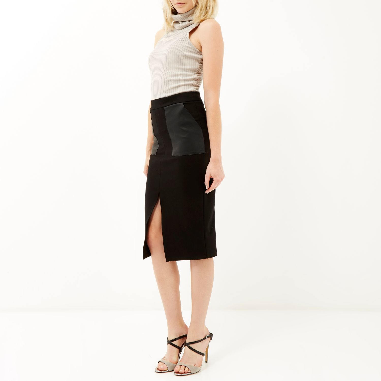 River island Black Split Front Pencil Skirt in Black | Lyst