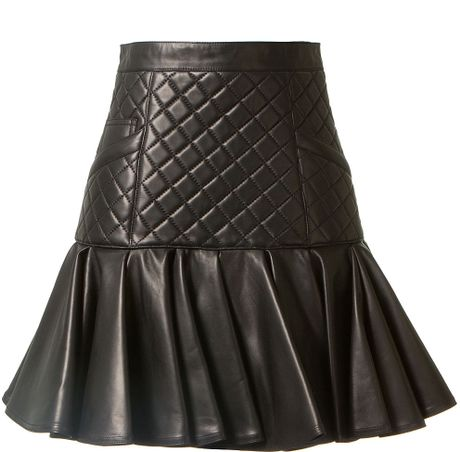 balmain leather black flared and quilted skirt in black lyst