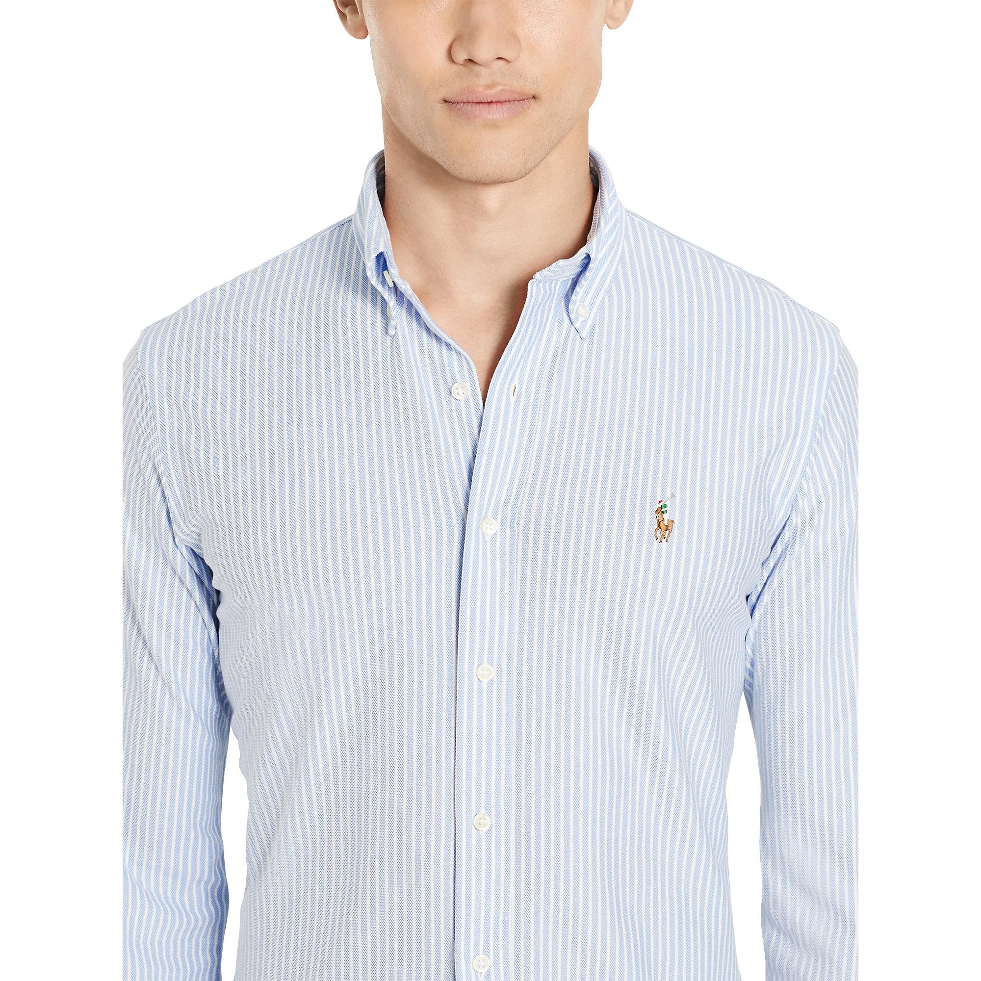 fe2e5b466703 Polo Ralph Lauren Slim Striped Knit Oxford Shirt in Blue for Men - Lyst