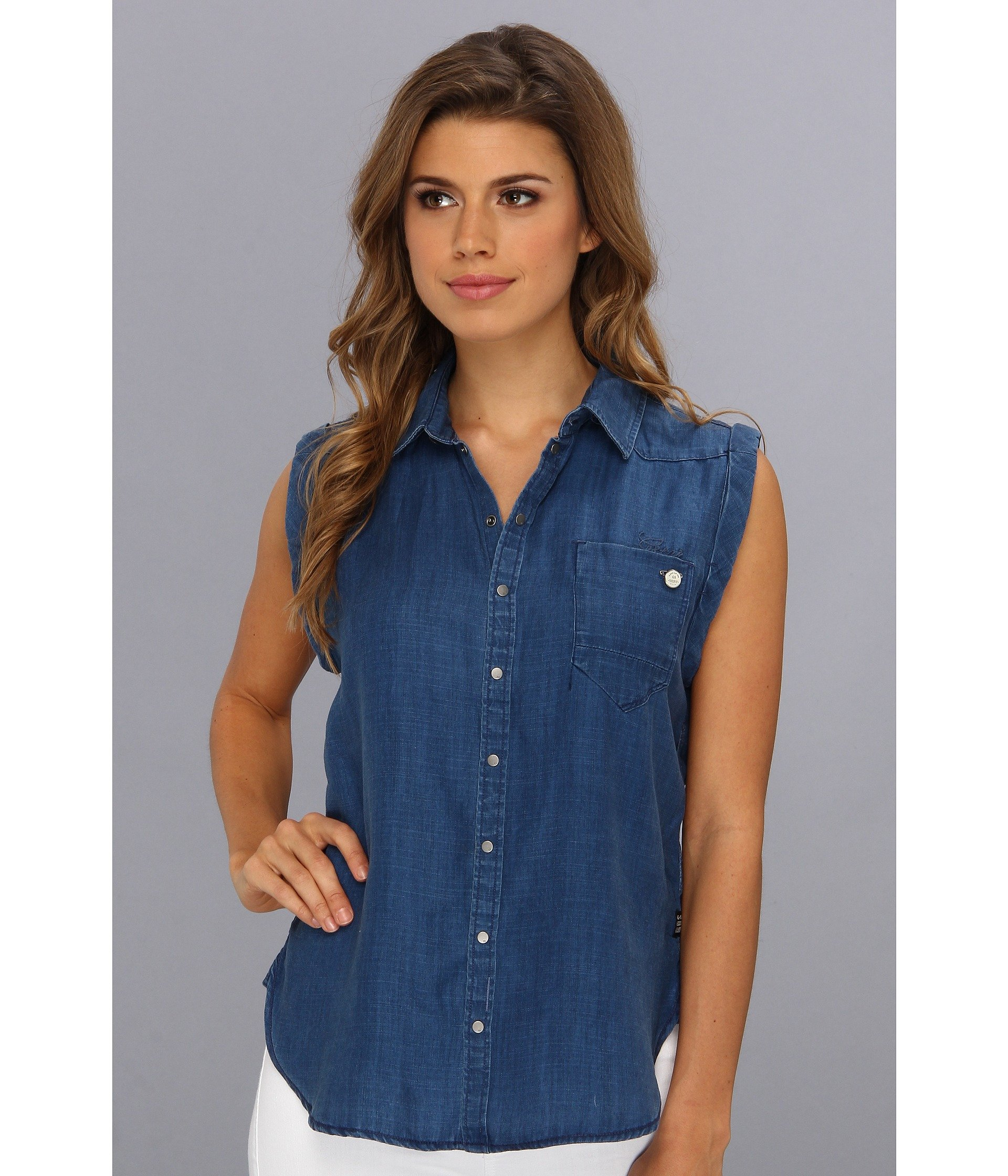G-star raw Lancer Boyfriend Fit Sleeveless Shirt in Onis Denim ...