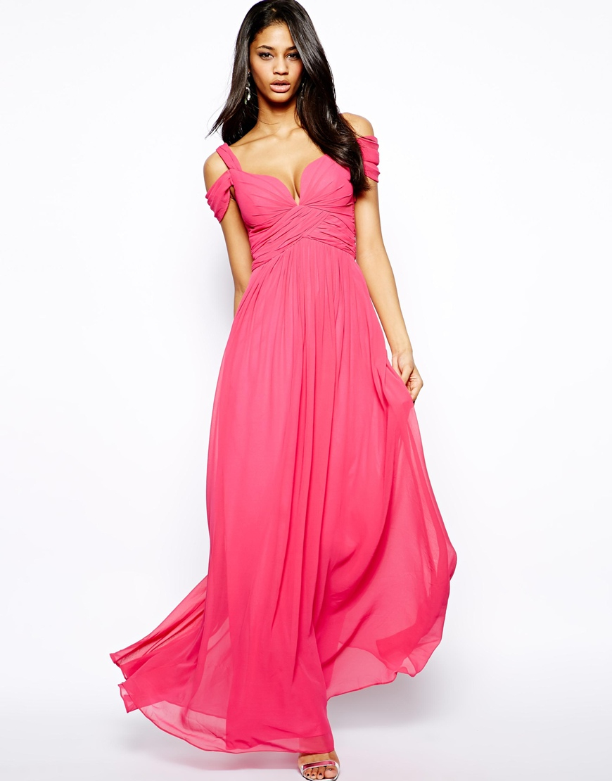 Forever unique Sweetheart Maxi Dress with Off Shoulder in Pink | Lyst