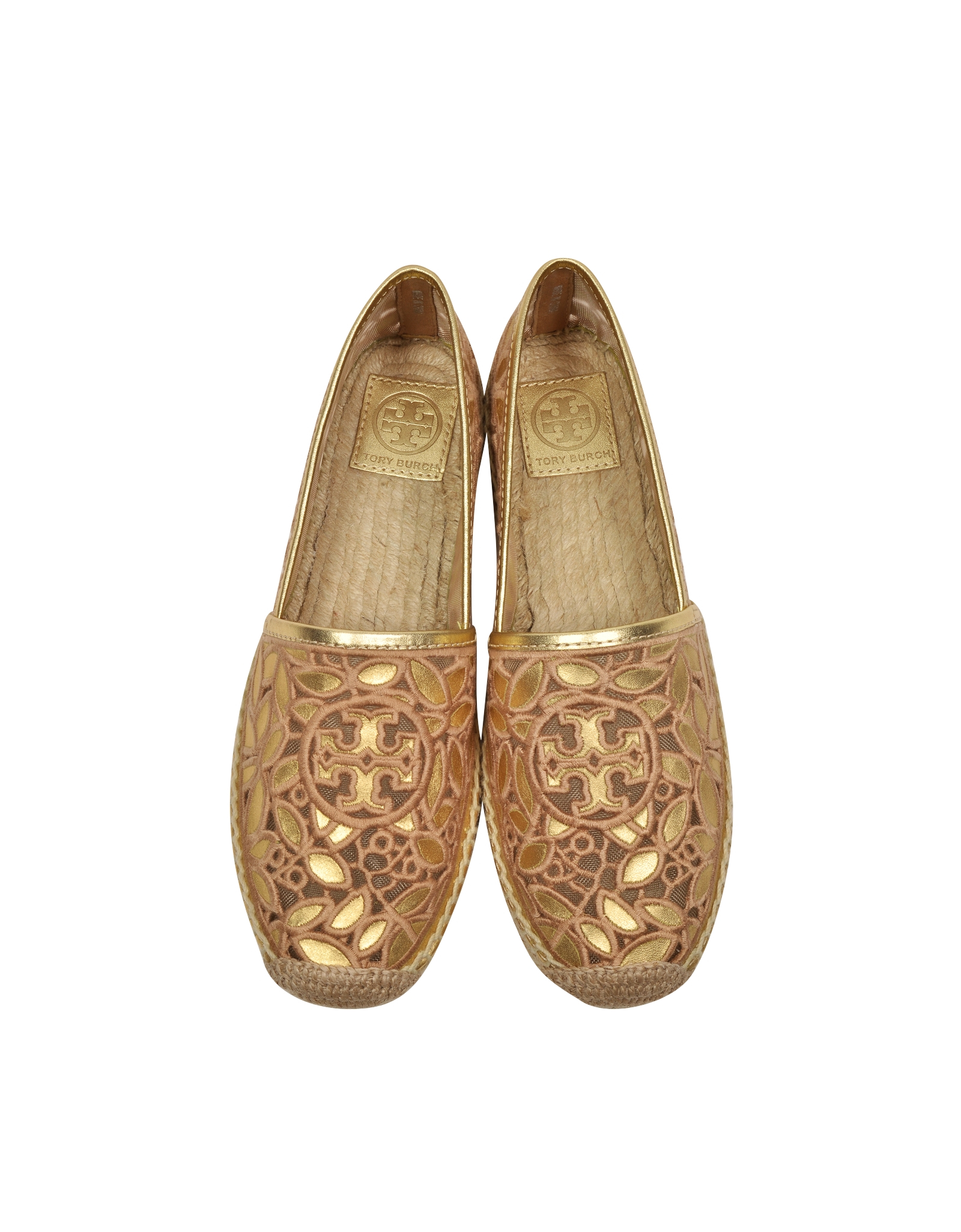 a117aa883d2a Lyst - Tory Burch Rhea Gold Metallic Leather Embroidered Espadrille ...