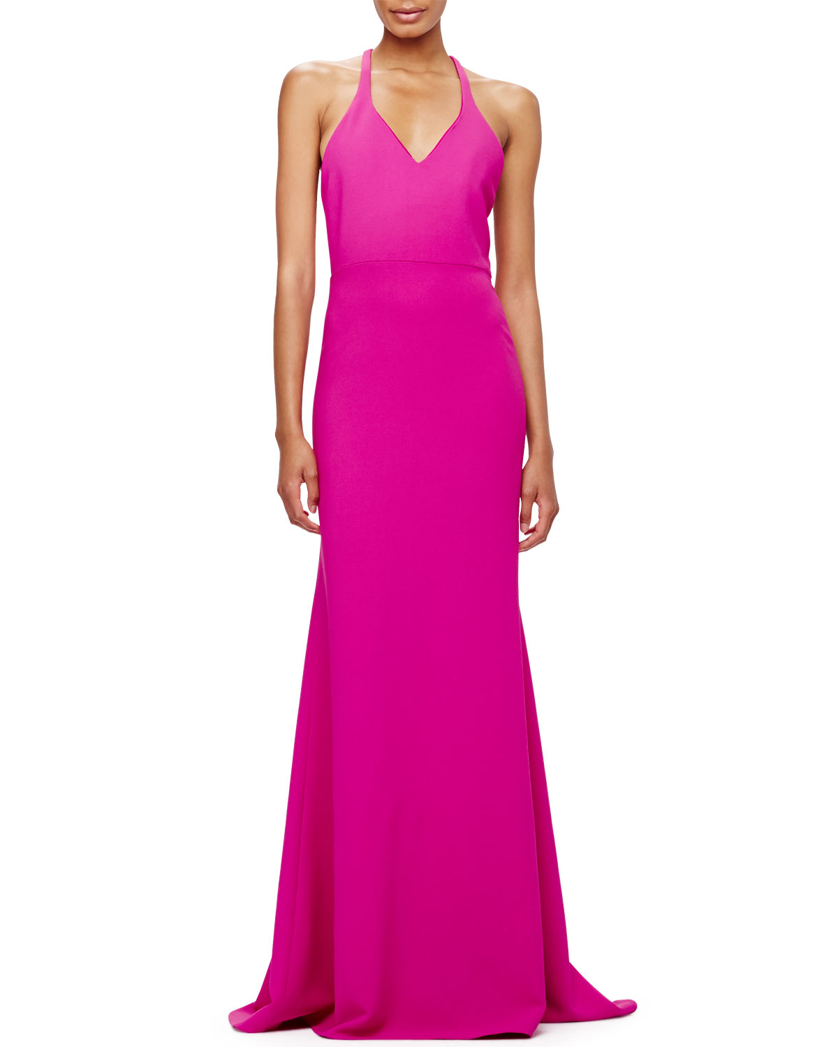 Calvin Klein V Neck Crepe T Back Gown In Purple Lyst