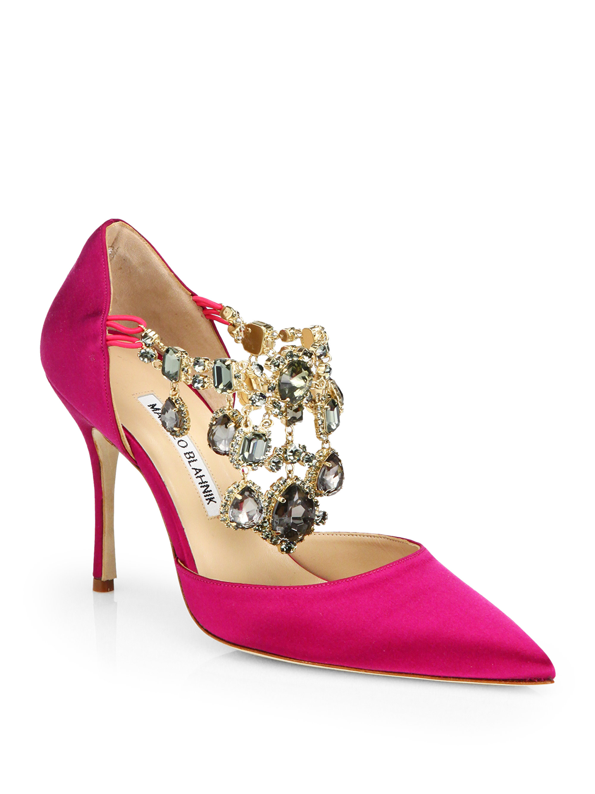 manolo blahnik zullin satin jeweled d orsay pumps in pink