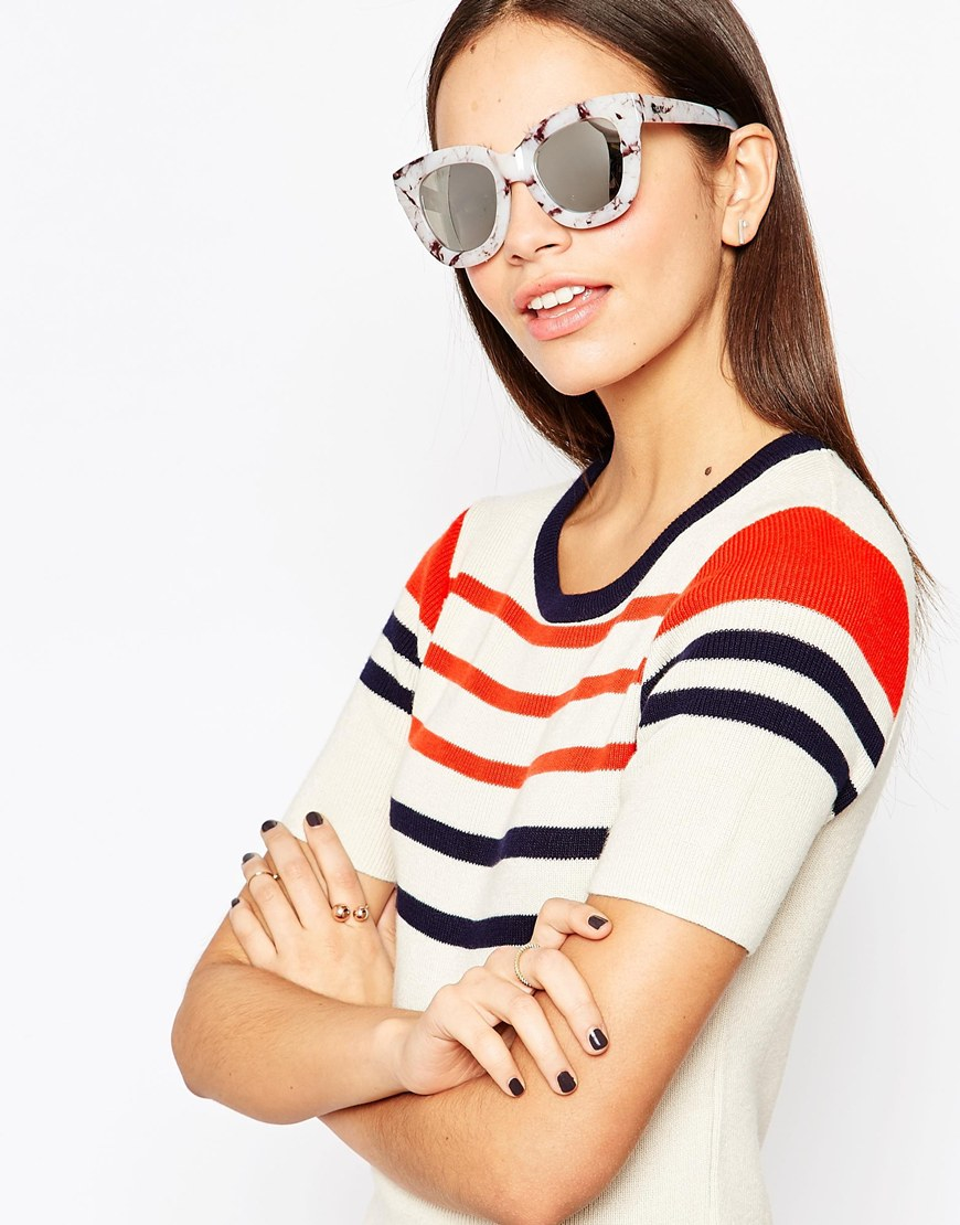 b4feac6013 Lyst - Quay Sugar   Spice Mirror Cat Eye Sunglasses in Brown
