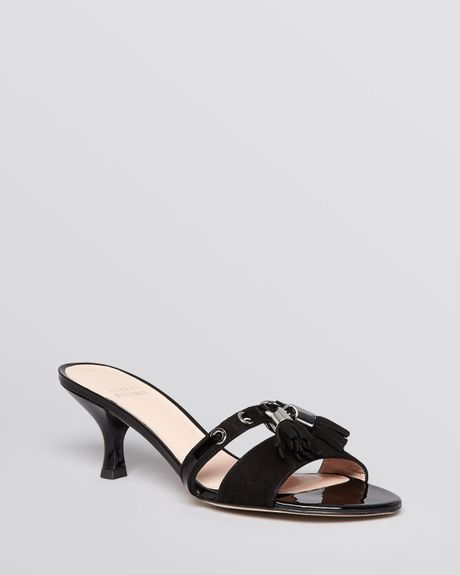 Stuart Weitzman Slide Sandals Tassa Kitten Heel In Black