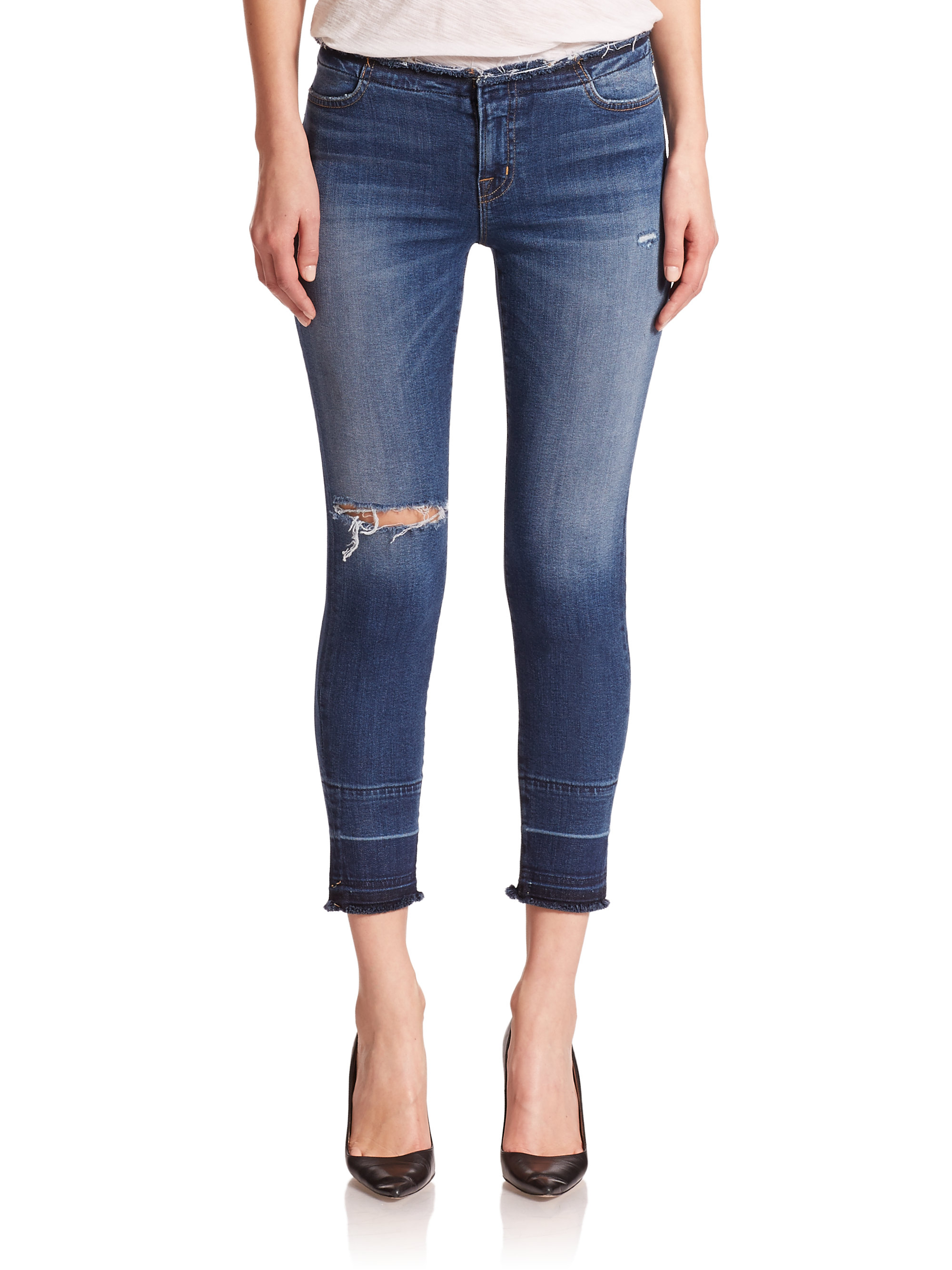 J brand 835 Mid-Rise Distressed Cropped Skinny Jeans in Blue | Lyst
