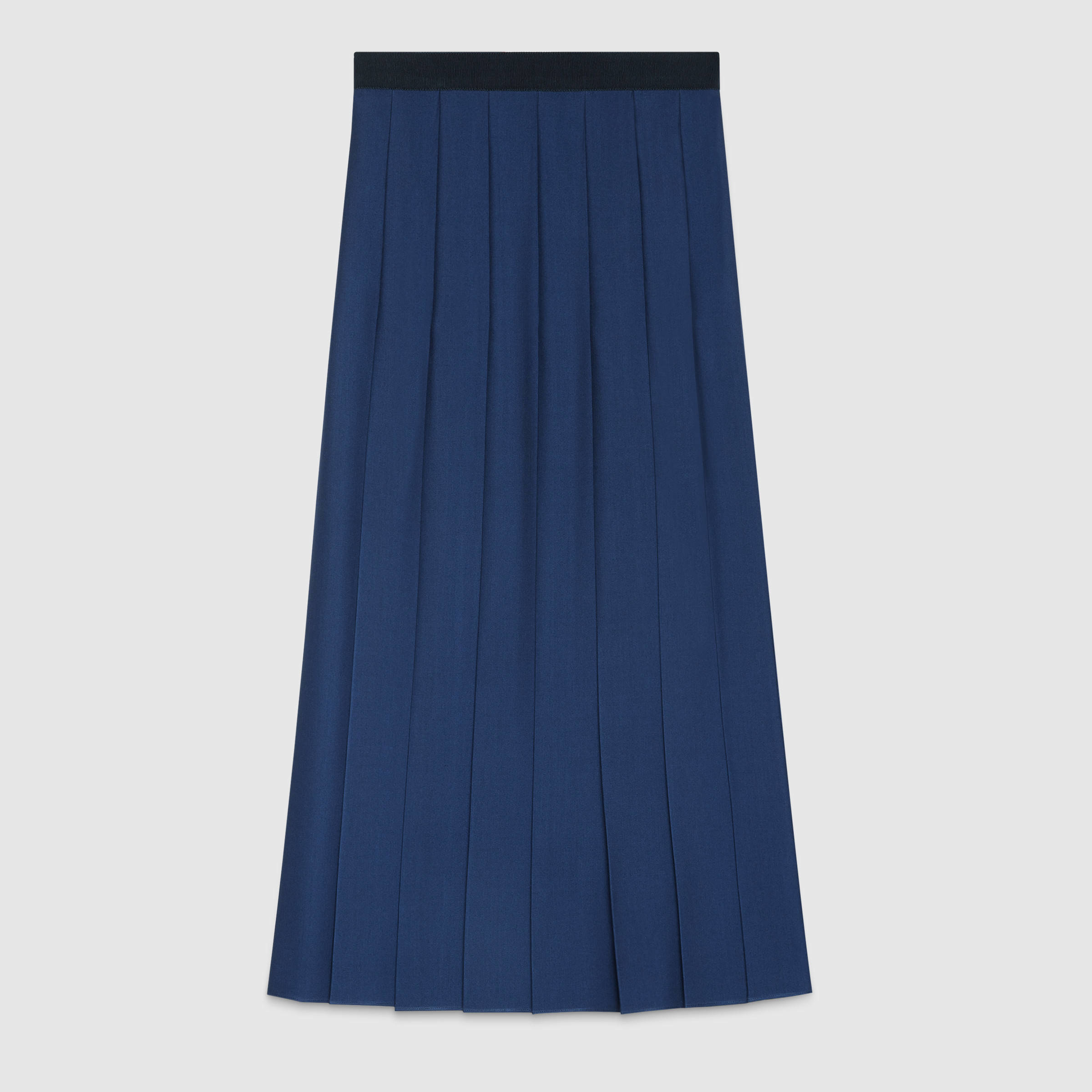 gucci wool silk pleated skirt in blue lyst