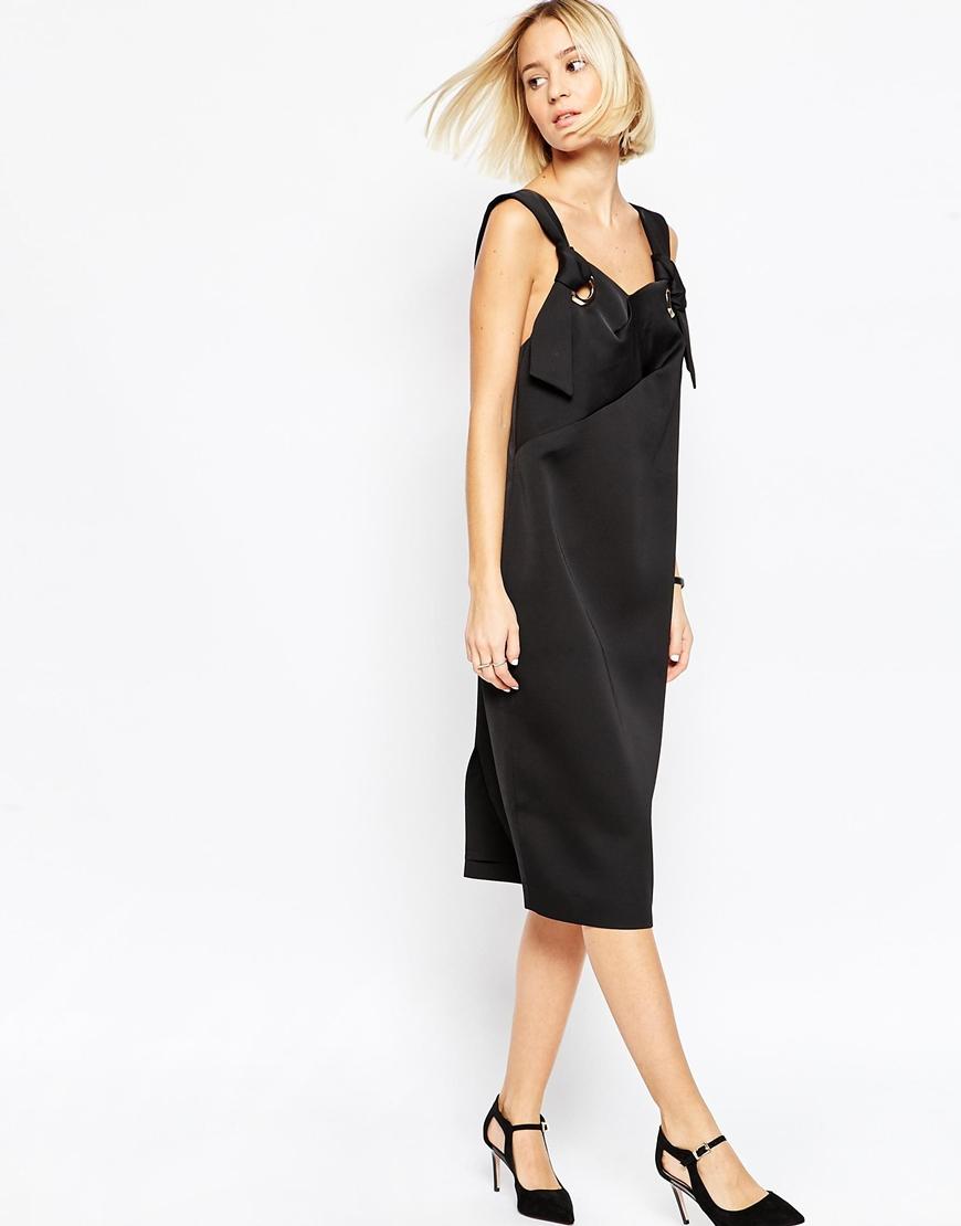 Asos Womens Bonded Satin Midi Dress With Eyelet Detail Black - Dresses