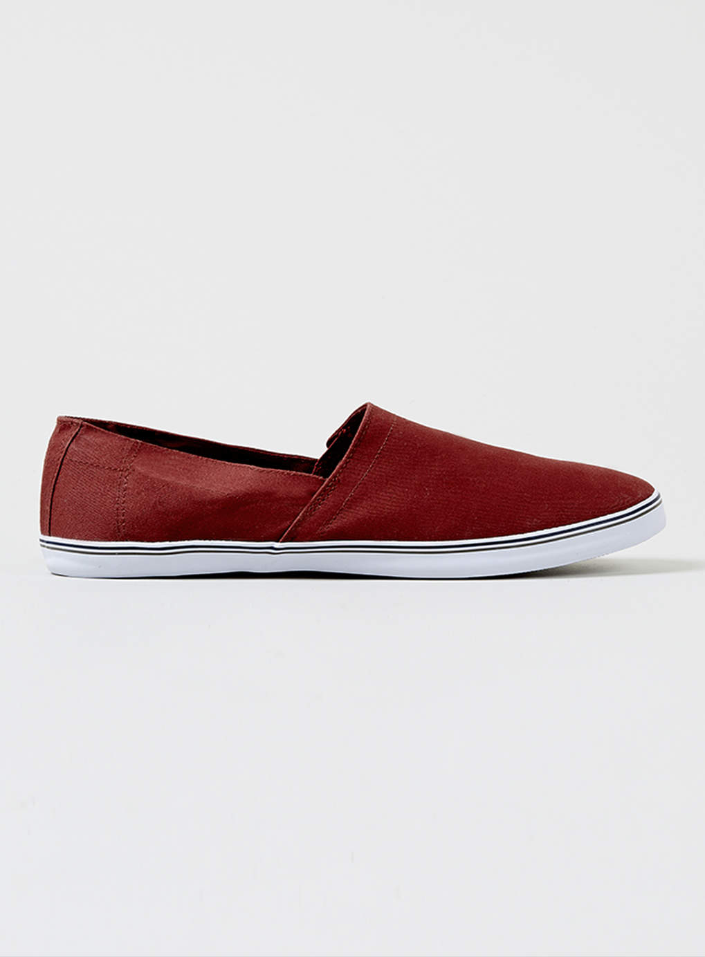 topman malice burgundy canvas slip on shoes in for