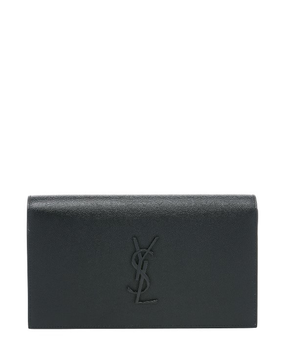 Saint laurent Black Pebbled Leather \u0026#39;ysl\u0026#39; Clutch Bag in Black | Lyst