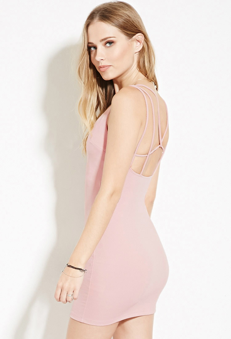 f20422f17d97 Lyst - Forever 21 Strappy-back Bodycon Mini Dress in Pink