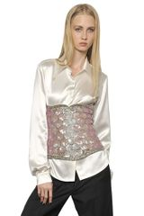 Maison Martin Margiela Sequin Embroidered Bustier Top - Lyst