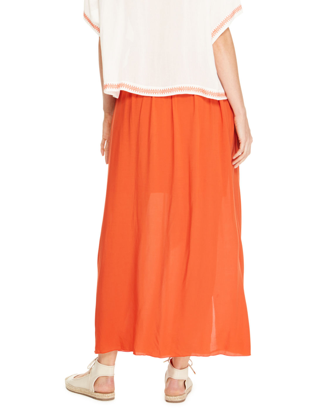 dkny maxi pull on pleated skirt in orange lyst