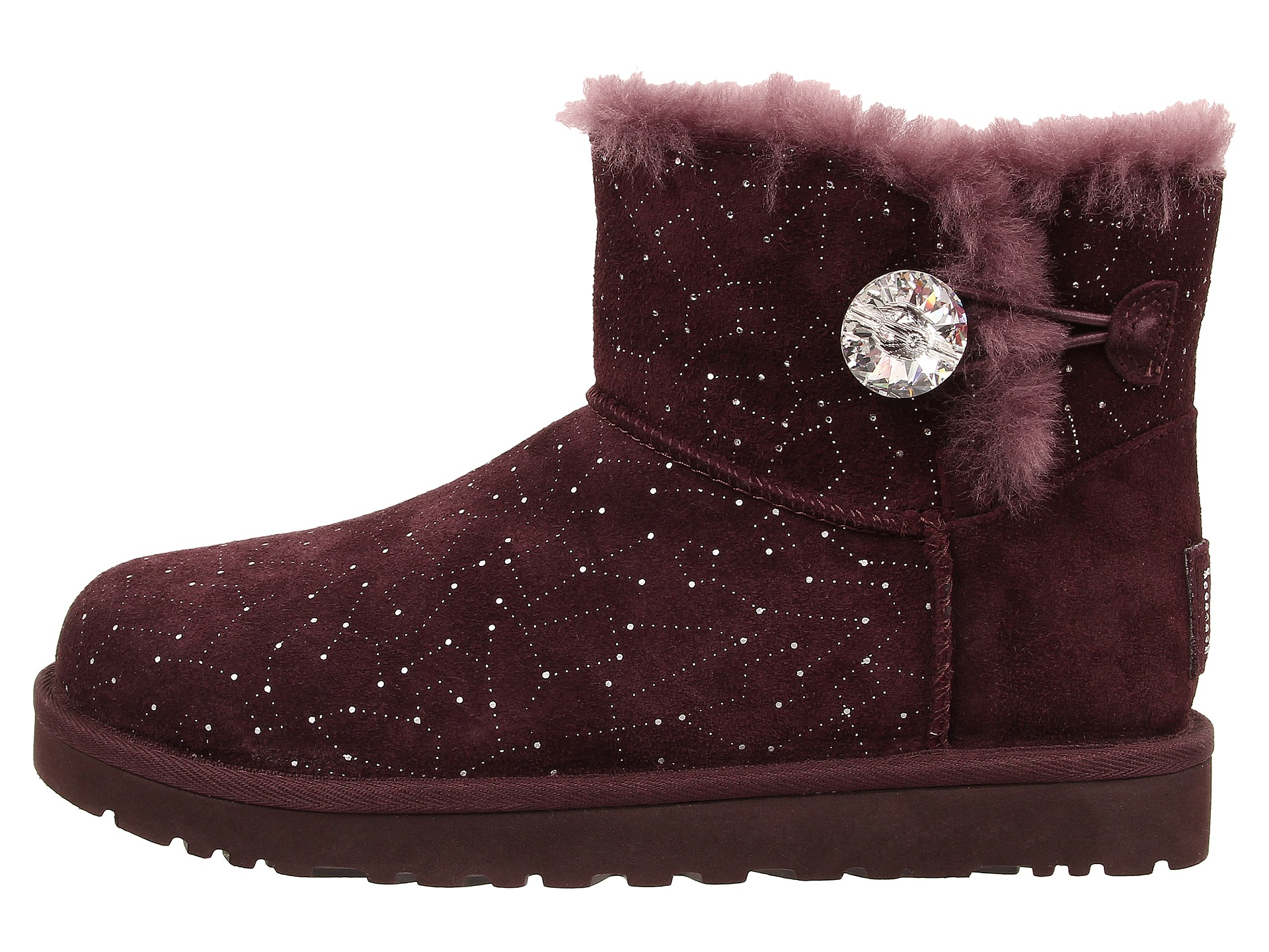 Womens Boots UGG Mini Bailey Button Bling Constellation Lodge Suede