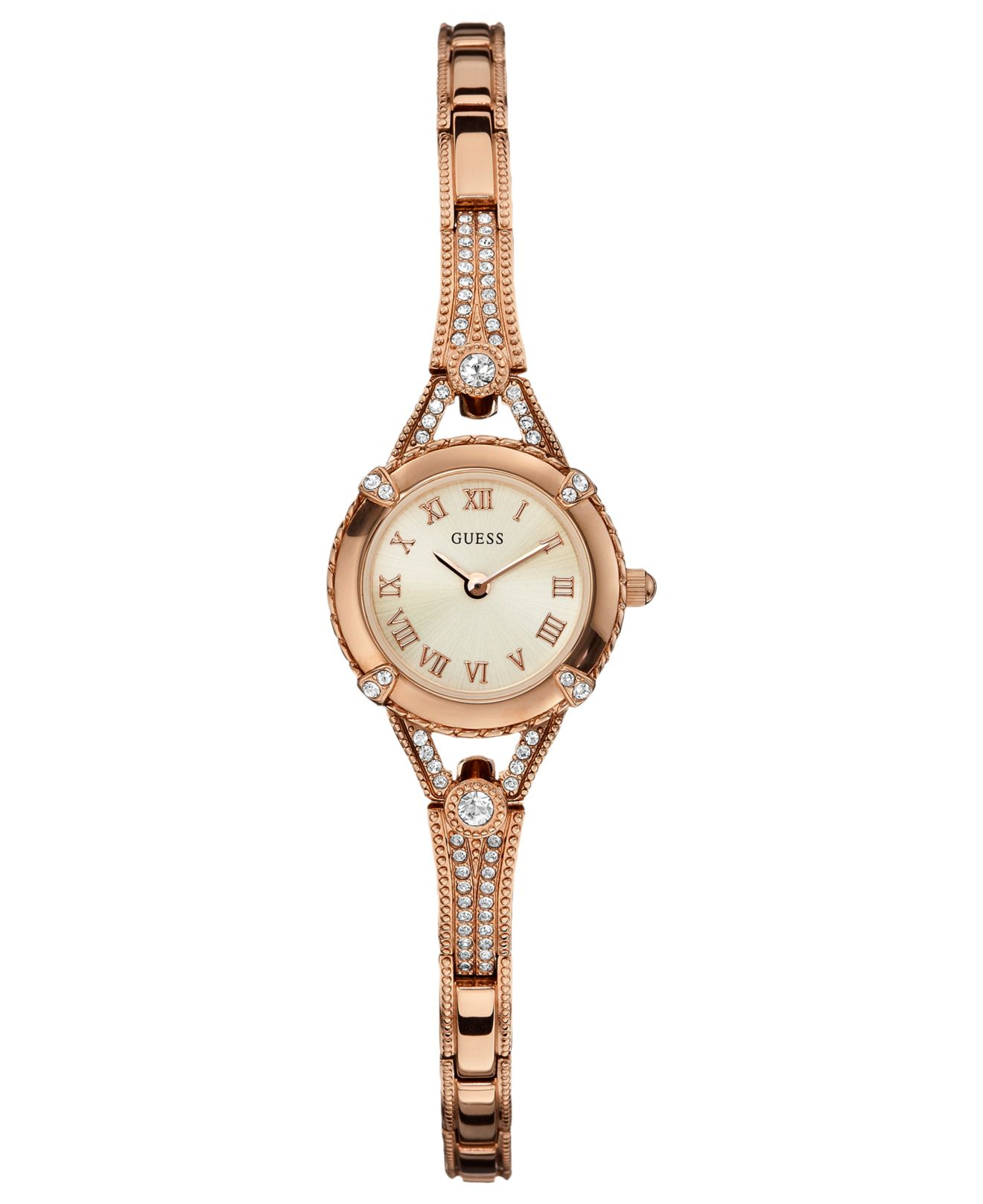 Guess women 39 s rose gold tone bracelet 22mm u0135l3 in pink lyst for Watches guess