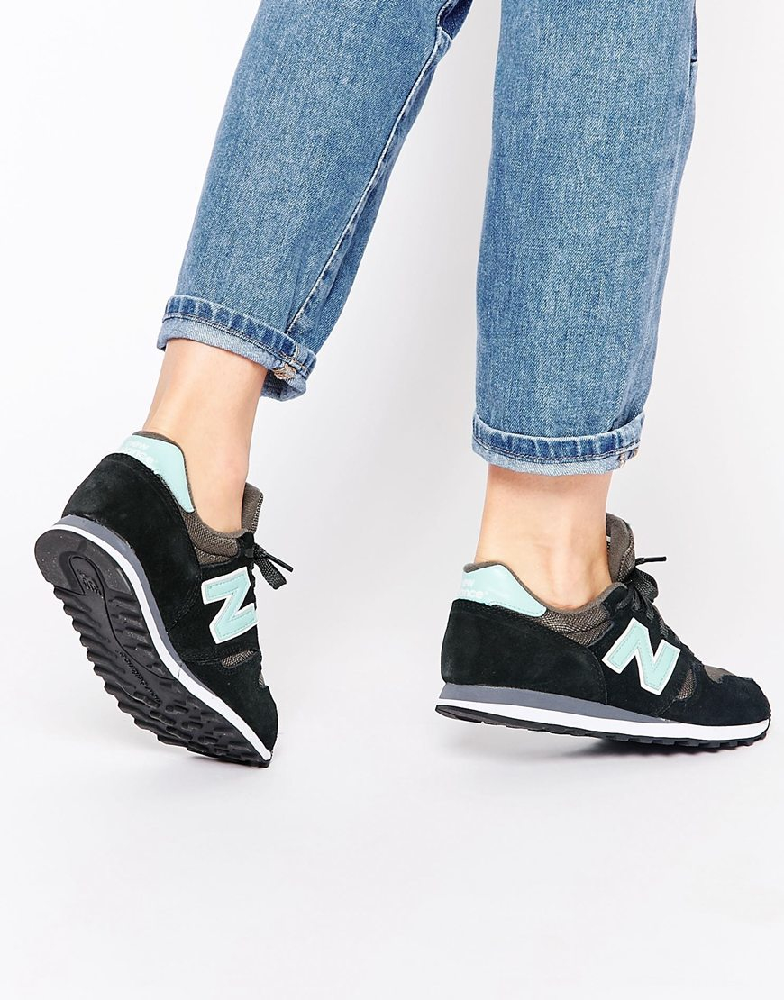 dc9473dd6dac1 ... order lyst new balance 373 black turquoise suede trainers in black  7ec1e 49f4d