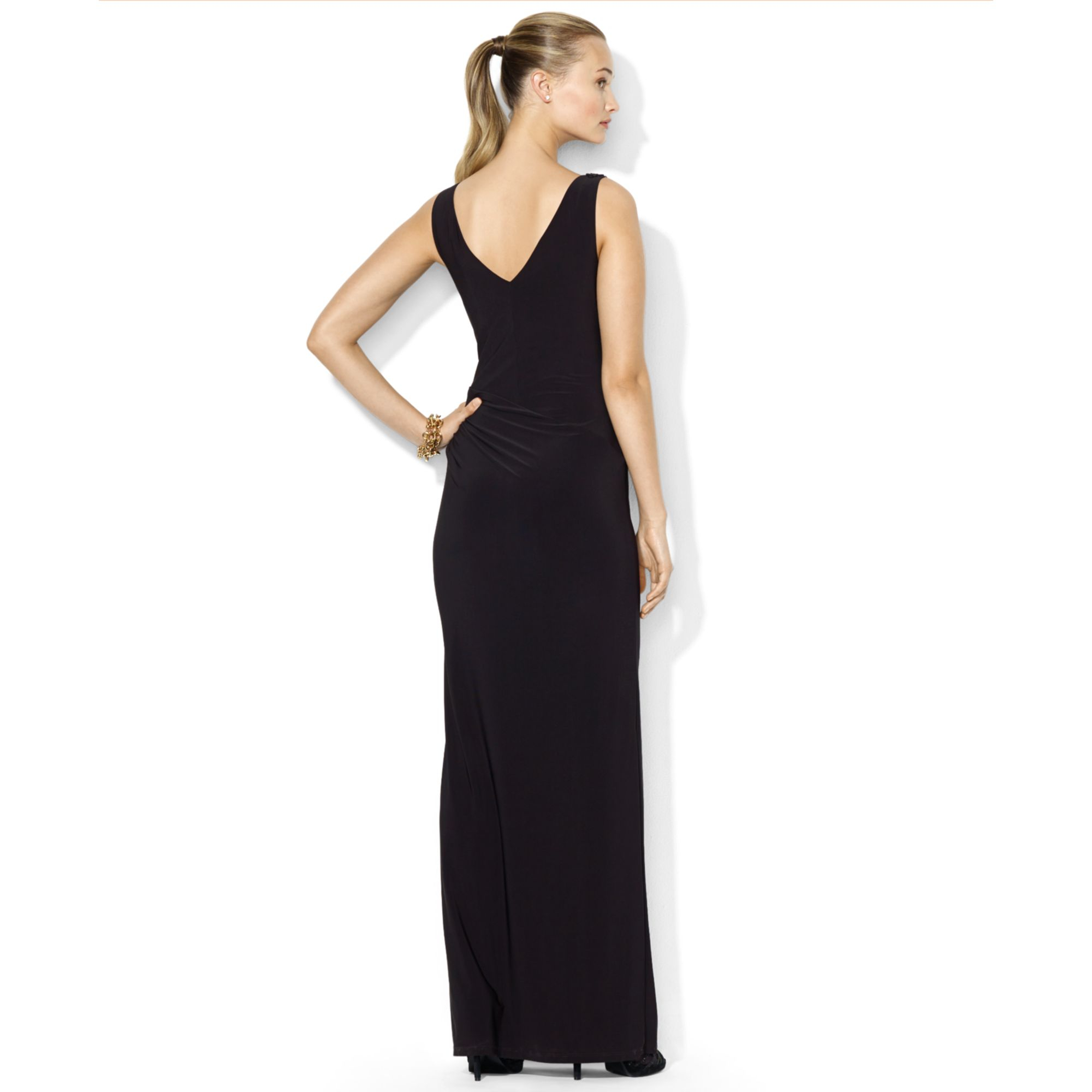 Lyst - Lauren By Ralph Lauren Lauren By Ralph Lauren Dress Sleeveless Beaded  Embellished Gown in Black