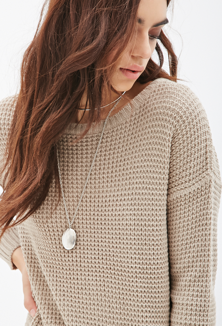 Bedwelming Lyst - Forever 21 Chunky Knit Oversized Sweater in Brown #SY28