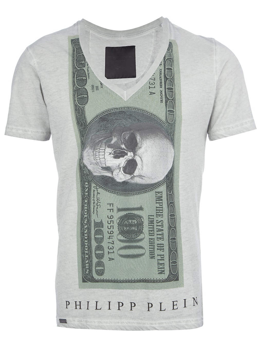 lyst philipp plein skull dollar print tshirt in gray for men. Black Bedroom Furniture Sets. Home Design Ideas