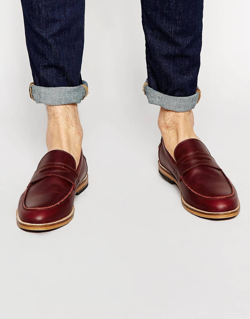 0981f2c1354 Lyst - ASOS Loafers In Burgundy Leather With Natural Sole in Brown ...