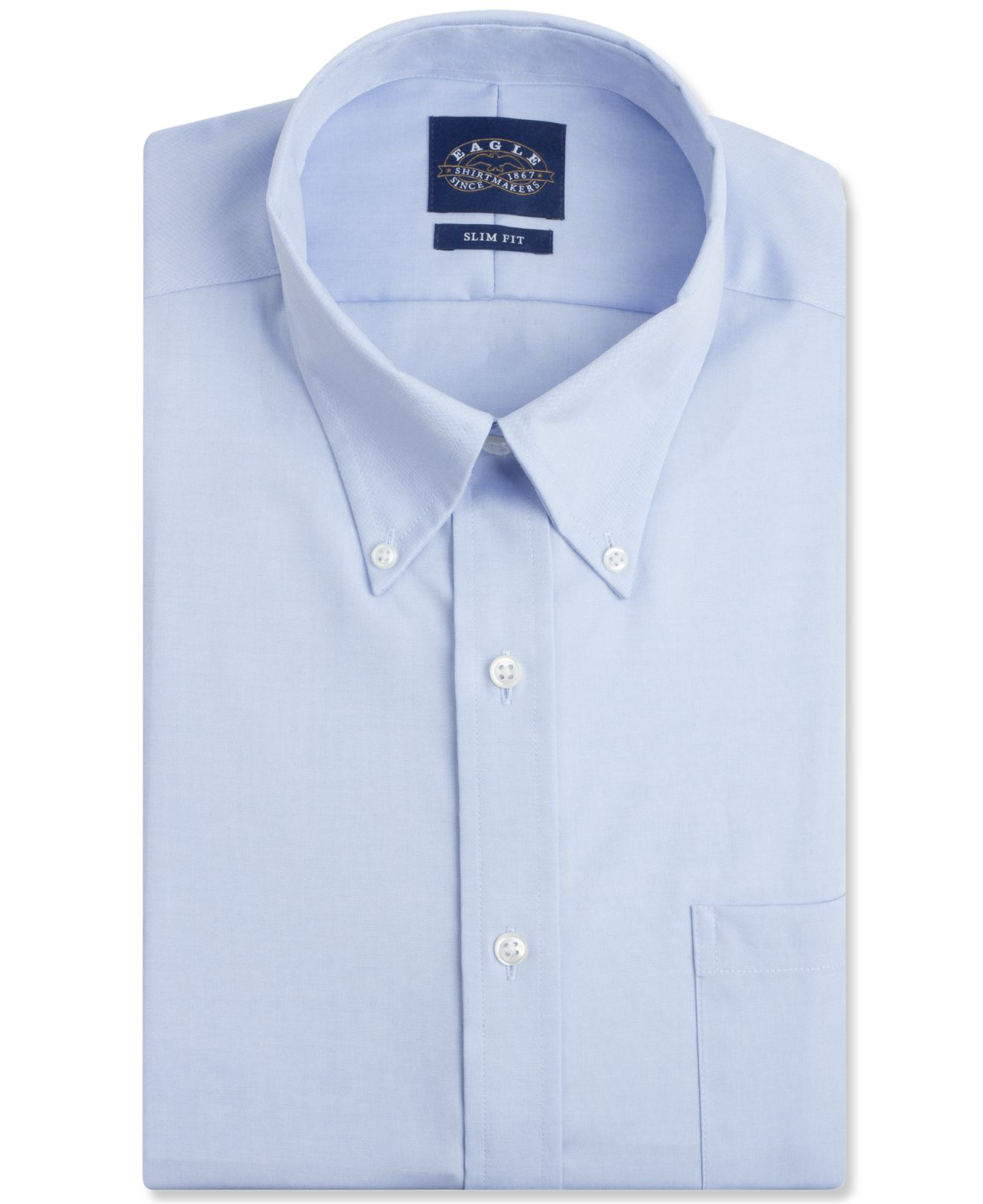 Eagle men 39 s slim fit non iron pinpoint dress shirt in blue for No iron dress shirts for men