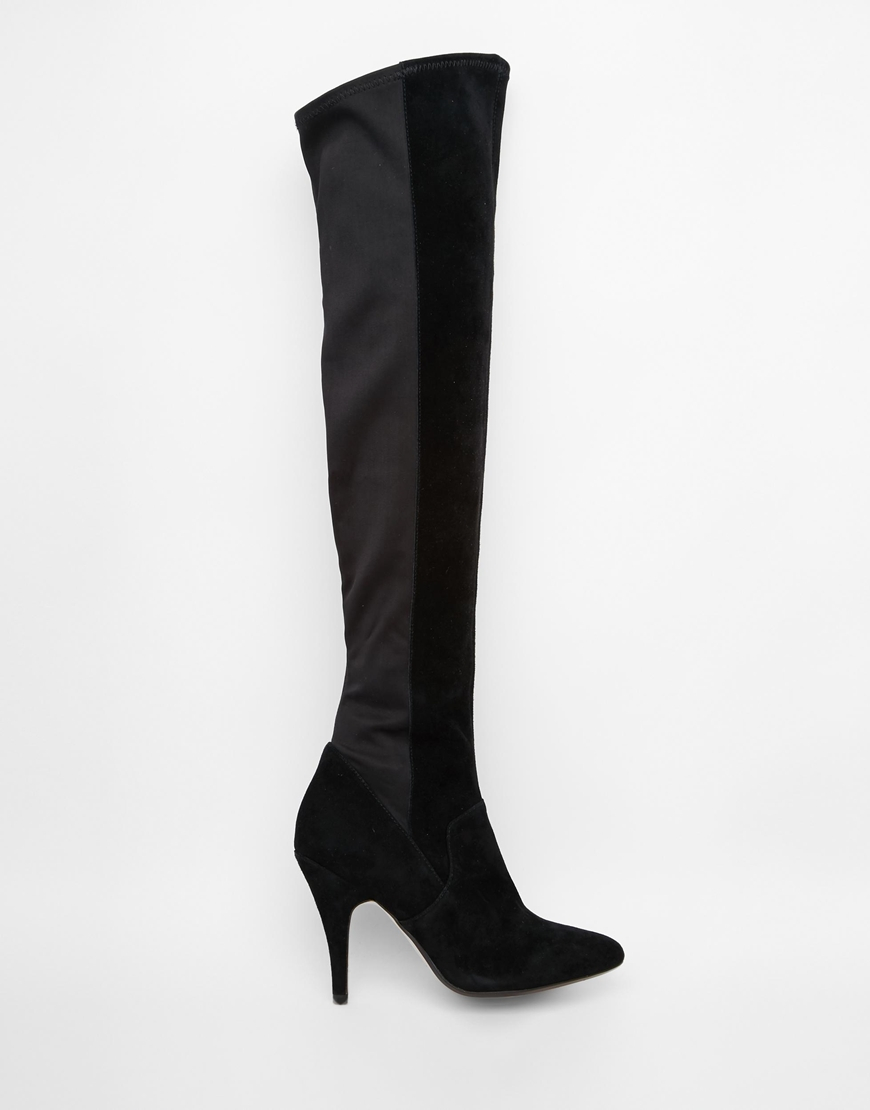 Dune Stretchy Black Leather Pull On Over The Knee Boots in Black ...