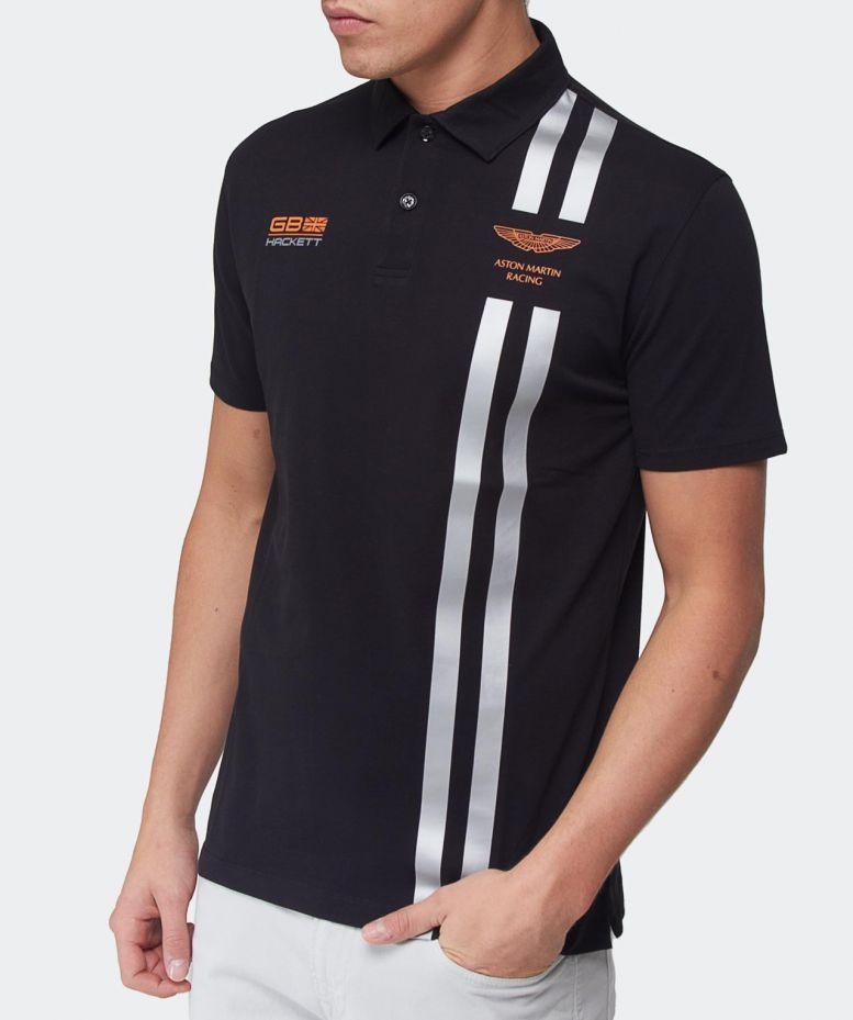Hackett Aston Martin Racing Stripe Polo Shirt In