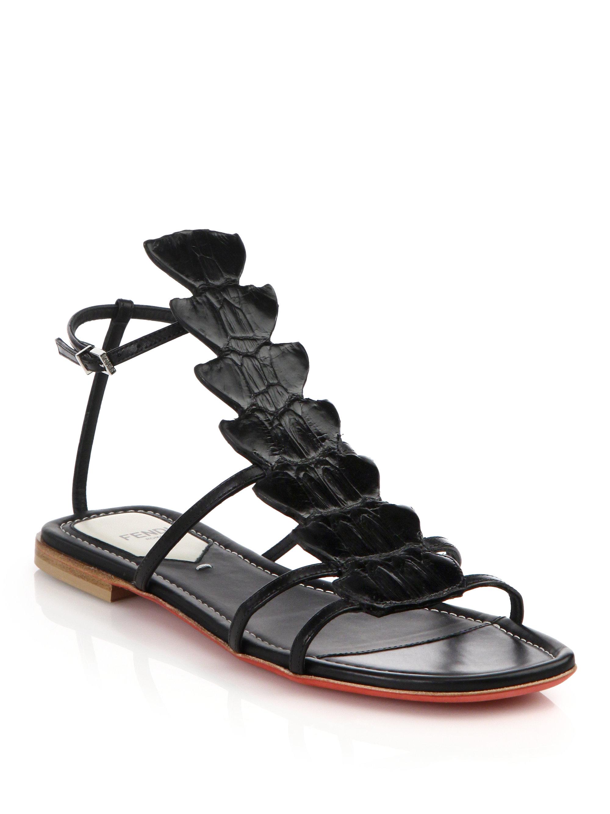 c1f6ce935dd91 Lyst - Fendi Ava Crocodile   Leather Flat Sandals in Black