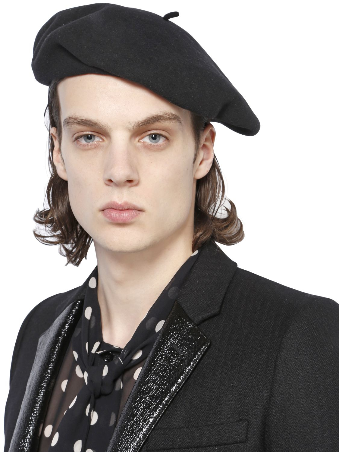 Lyst - Saint Laurent Wool Felt Beret in Black for Men 399d29b9669