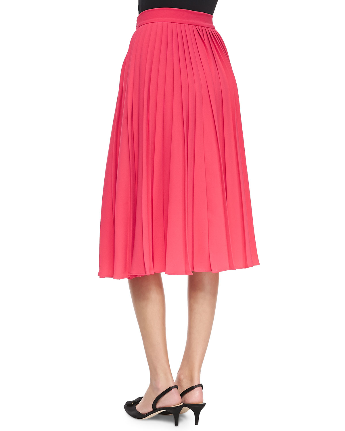 kate spade new york accordion pleated midi skirt in pink