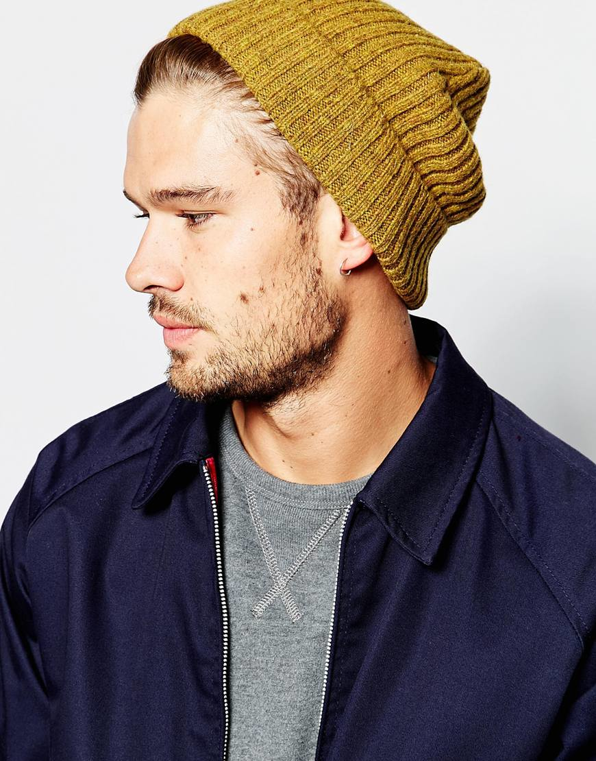 a2f599890ee Lyst - ASOS Fisherman Beanie In Mustard Lambswool in Yellow for Men