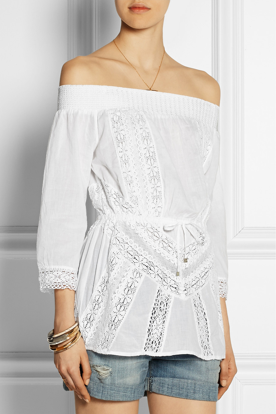 ba9fb297cd299 Lyst - MICHAEL Michael Kors Off-The-Shoulder Crochet-Trimmed Cotton-Voile  Top in White
