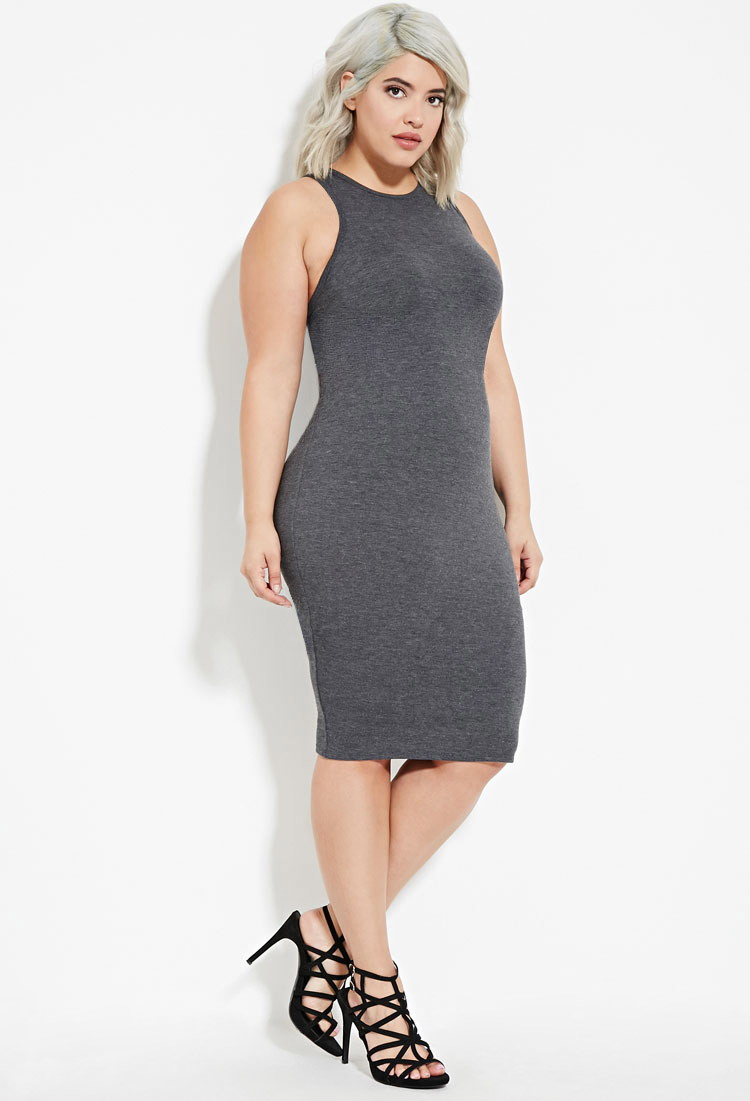 Forever 21 Plus Size Bodycon Tank Dress in Gray | Lyst