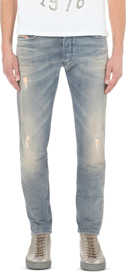 Diesel Tepphar 0845f Slim Fit Faded Wash Jeans In Blue For