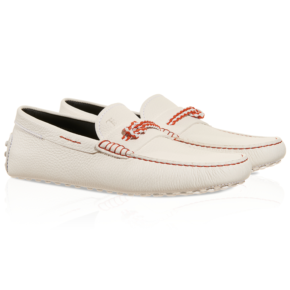 tod s gommino driving shoes in leather in white for lyst