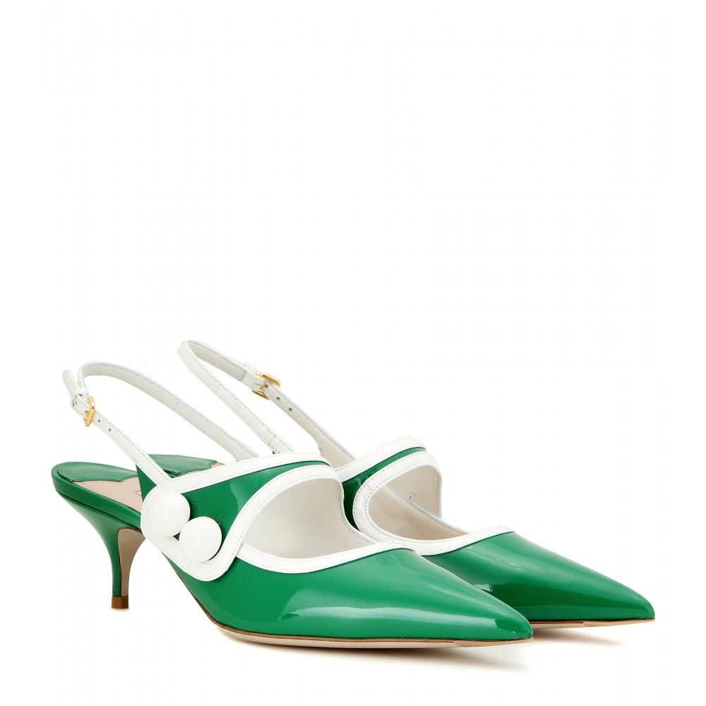 7af638c8eb96 Miu Miu Patent Leather Slingback Kitten-heel Pumps in Green - Lyst