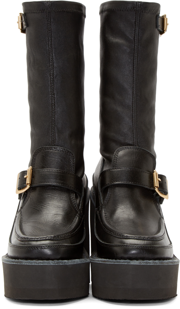 sacai black leather mid calf wedge boots in black lyst