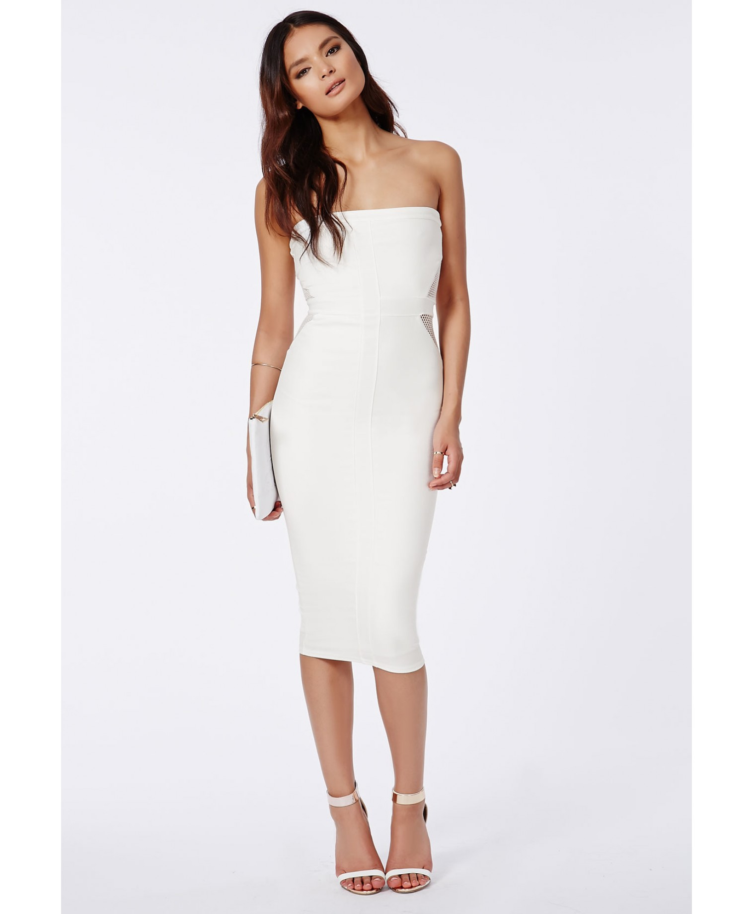 f212e7dd44fe Lyst - Missguided Bandeau Midi Dress With Fishnet Detail In White in ...
