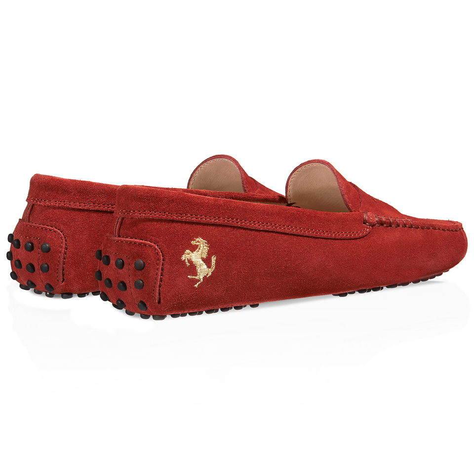 Tod's For Ferrari Gommino Driving Shoes In Suede in Red | Lyst