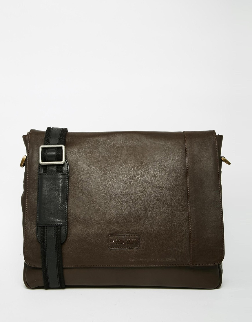 Racing green Leather Messenger Bag in Brown for Men | Lyst