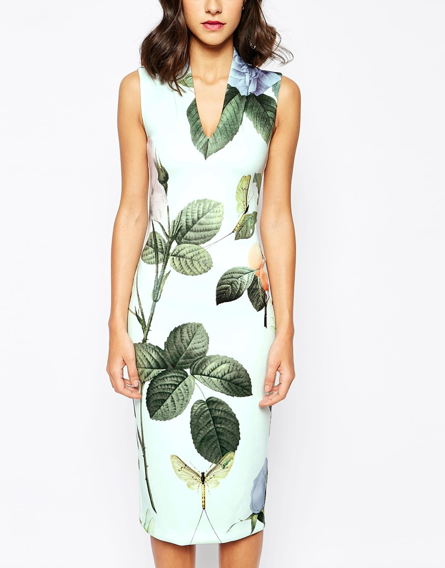 3faa82806ad43 Lyst - Ted Baker Midi Dress In Distinguishing Rose Print in Green