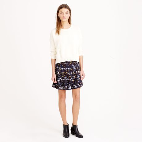 j crew pleated lattice skirt in floral in gray