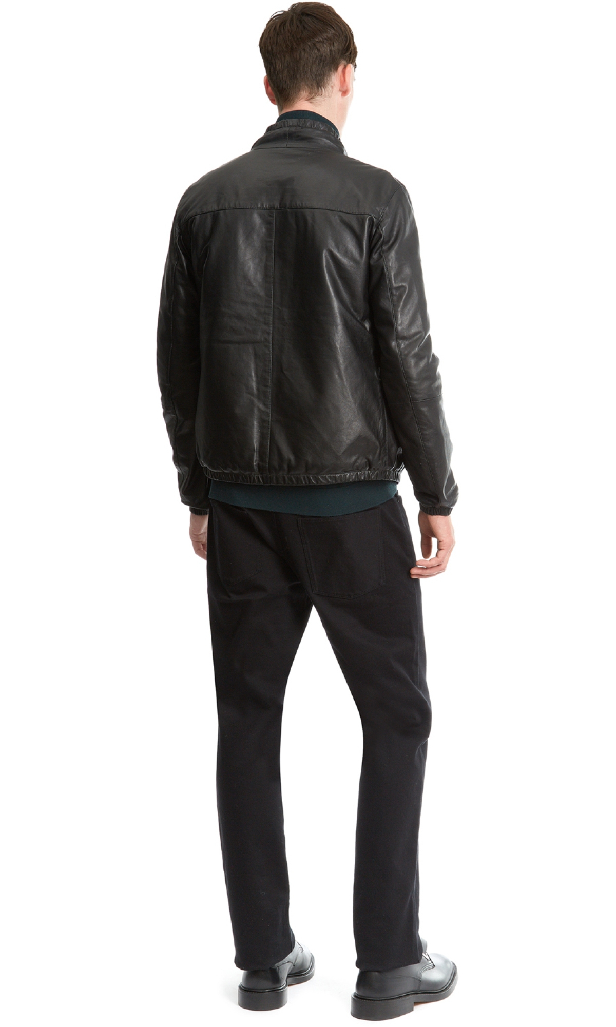 Nicole farhi Track Style Leather Jacket in Black for Men ...