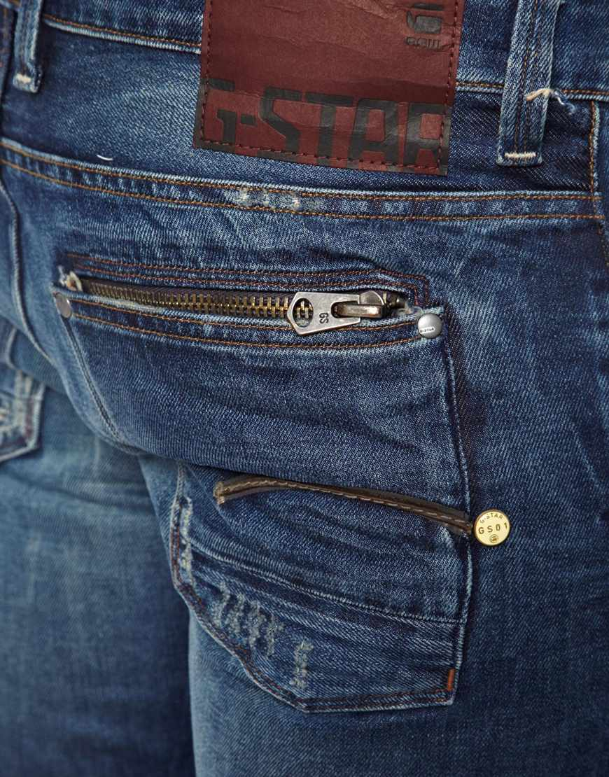 star raw blue g star jeans attacc low straight lexicon medium aged. Black Bedroom Furniture Sets. Home Design Ideas