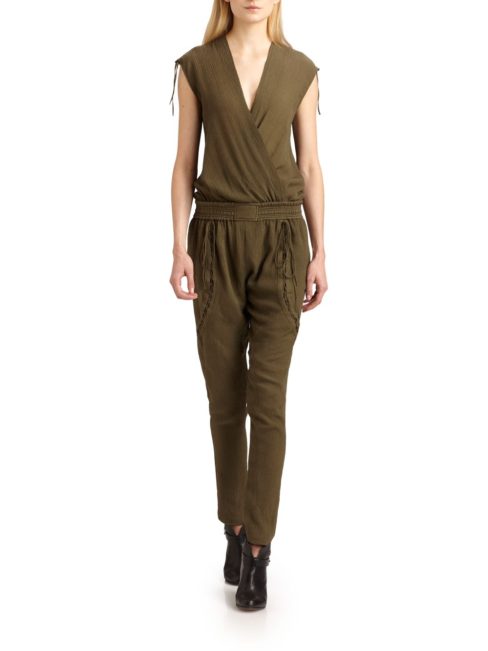 Cool Womens Plain Lapel Long Sleeve High Waist Zipper Jumpsuit Khaki  PINK