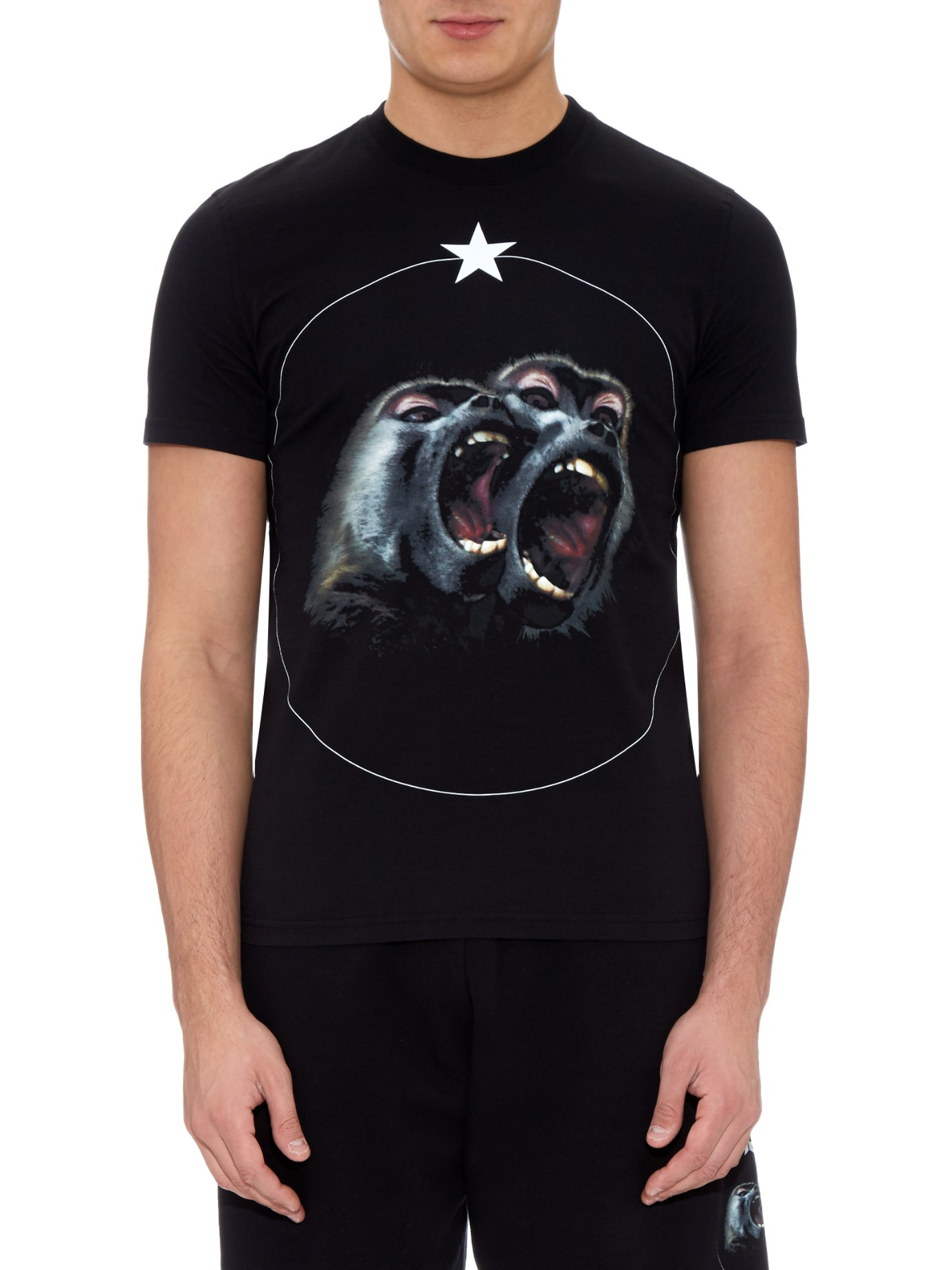 Givenchy Cuban Fit Screaming Monkey Print T Shirt In Black